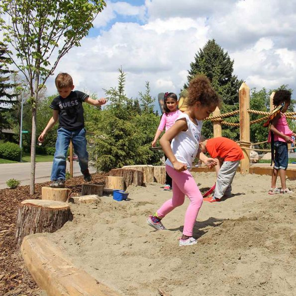 kids – sand area and walking on the stump border 3